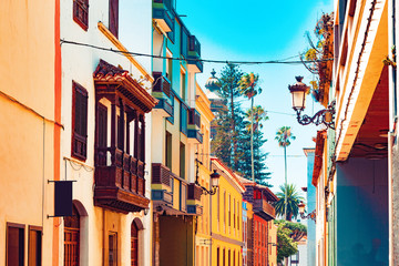 Landmark and vacations in Spanish beachs.Canary Islands.Tenerife,La laguna village.Travel and tourism in Canaries