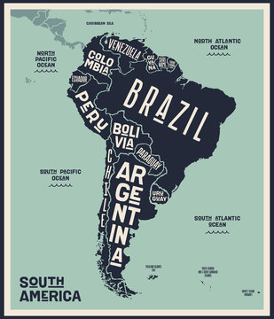 Map South America. Poster map of South America. Black and white print map of South Latin America for t-shirt, poster or geographic themes. Hand-drawn graphic map with countries. Vector Illustration
