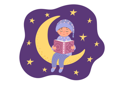 Bedtime story. Cute little boy reads book. Child in pajama sitting on the moon.