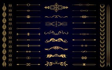 Obraz Set of vector gold vintage decorative elements for wedding decor and book decoration - fototapety do salonu