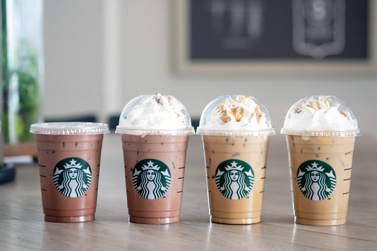 Bangkok, Thailand - February 24, 2020: Four of Starbucks coffee cold beverage with buy 1 get 1 free promotion