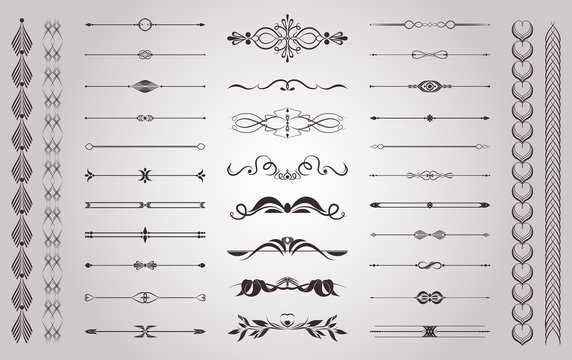 Set of vector vintage decorative elements for wedding decor and book decoration