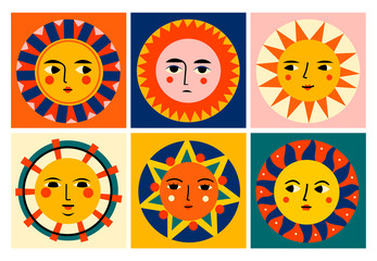 Wall Mural - Colorful abstract Suns with faces. Set of six Pre-made cards. Various emotions. Trendy illustrations. Ethnic style. Hand drawn Vector set. All elements are isolated. Perfect for textile prints