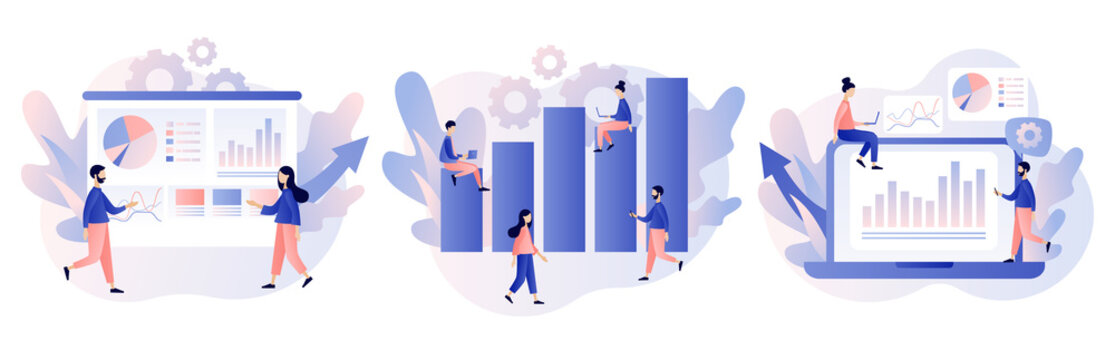 Data analytics consept. Business analysis. Tiny people are studying the infographic. Modern flat cartoon style. Vector illustration on white background