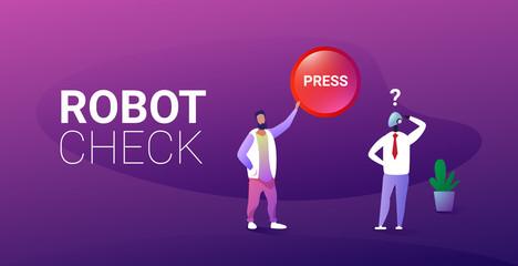 Wall Mural - man press button robot check concept human vs robotic character artificial intelligence concept full length horizontal vector illustration