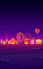 Smartphone background theme with carnival funfair at night. Vector template for mobile phone screen saver with dark landscape with illuminated circus and amusement park