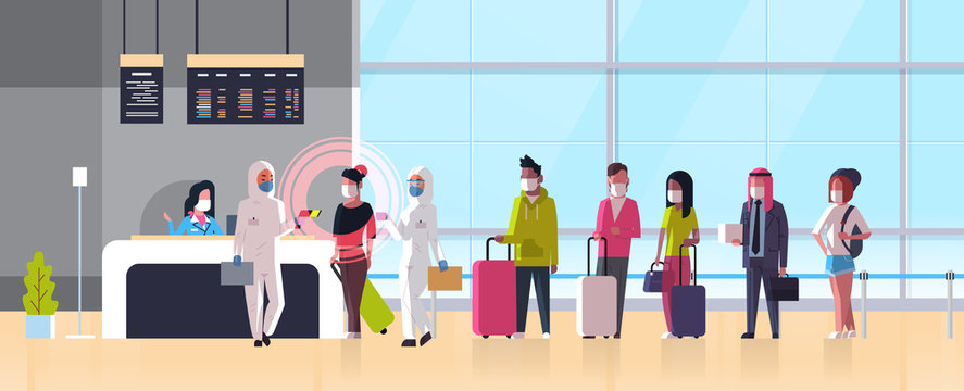 epidemic MERS-CoV medical worker in hazmat suit checking passengers temperature at airport terminal coronavirus infection wuhan 2019-nCoV pandemic health risk concept full length horizontal vector