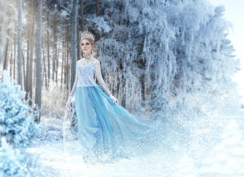 Beautiful  snow princess in the winter forest