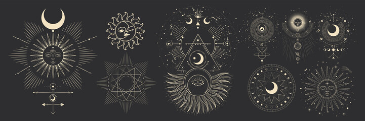 Vector illustration set of moon phases. Different stages of moonlight activity in vintage engraving style. Zodiac Signs Wall mural