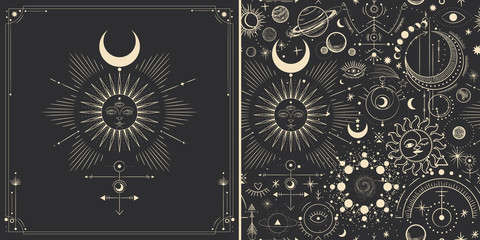 Foto auf AluDibond Retro Vector illustration set of moon phases. Different stages of moonlight activity in vintage engraving style. Zodiac Signs
