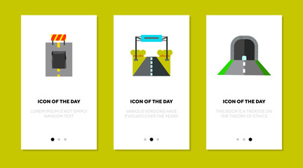 Road surface flat icon set. Driving, asphalt, way isolated vector sign pack. Roadway and construction concept. Vector illustration symbol elements for web design and apps Wall mural
