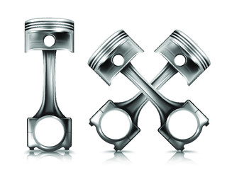 engine piston on white background. realistic metallic two crossed pistons. vector illustration.