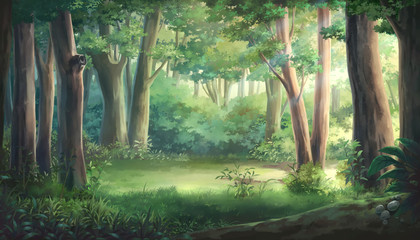 Spoed Fotobehang Olijf Light and forest - Day , Anime background , Illustration.