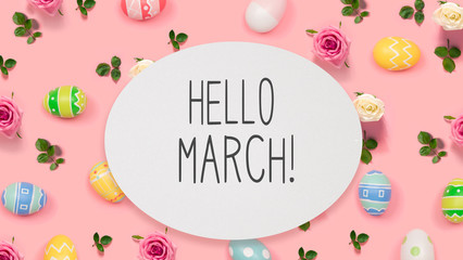 Hello March message with Easter eggs on a pink background