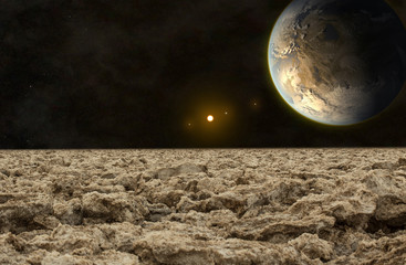 exoplanet viewed from the rocky surface of its moon, elements of this image furnished by NASA. Fotobehang