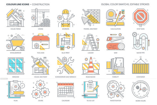 Construction related, color line, vector icon, illustration set