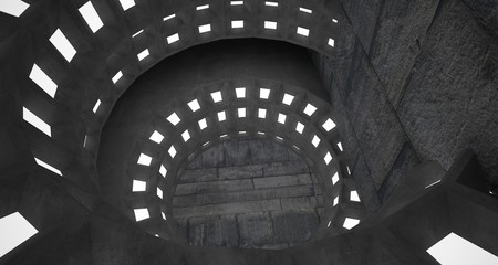 Abstract architectural concrete interior with discs. Neon lighting. 3D illustration and rendering.