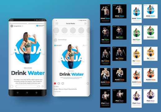 Social Media Post Layouts with Fitness Photography