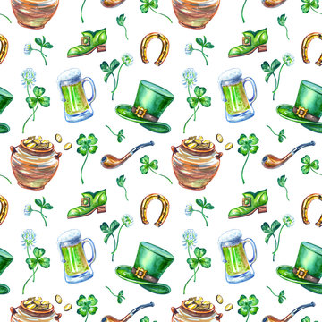 St. Patrick's Day symbols seamless pattern on a white background: leprechaun clothes, pot of coins, clover, smoking pipe, mug with ale.