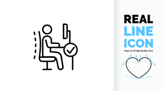 Vector editable and customisable real line icon or symbol of  ergonomics office chair for good posture in the workplace to prevent back, spine and neck pain with a check vink icon sign