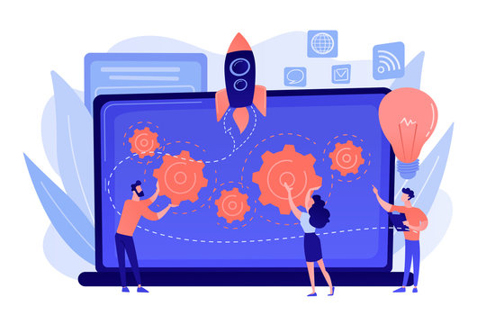 Startup team receive mentoring and training to accelerate growth and laptop. Startup accelerator, seed accelerator, startup mentoring concept. Pinkish coral bluevector isolated illustration