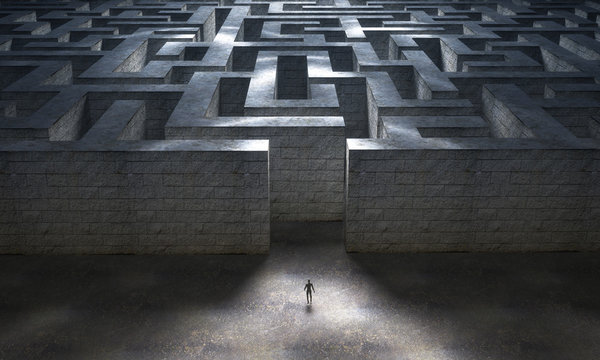 Small man entering a huge mysterious maze. 3d rendering