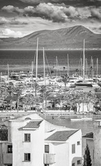 Wall Mural - Black and white picture of Port of Alcudia, main tourist center in the North of Majorca, Spain.