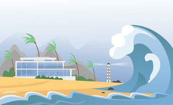 Natural strong disaster with fog and tsunami waves from ocean with house, mountains, palms and lighthouse. Earthquake tsunami wave hits the sand beach vector illustration