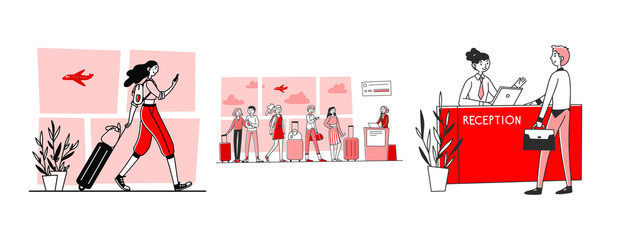 Tourists in airport set. Passengers wheeling luggage, queue, reception. Flat vector illustrations. Travel, vacation, check in to flight concept for banner, website design or landing web page Fotomurales