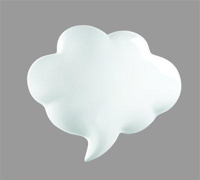 3d talking cloud, shiny cloud foam. 3d talking ballon. Cload foam illustration.