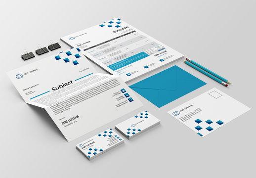 Stationery Layout Set with Blue Geometric Design Elements