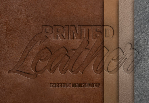 Embossed Leather Texture Effect Mockup