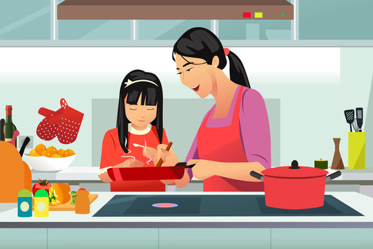 Chinese Mother and Daughter Cooking in the Kitchen Vector Illustration