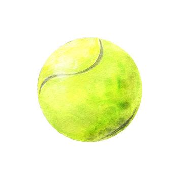 Watercolor yellow tennis ball