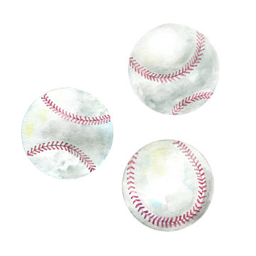 Hand drawn watercolor baseballs