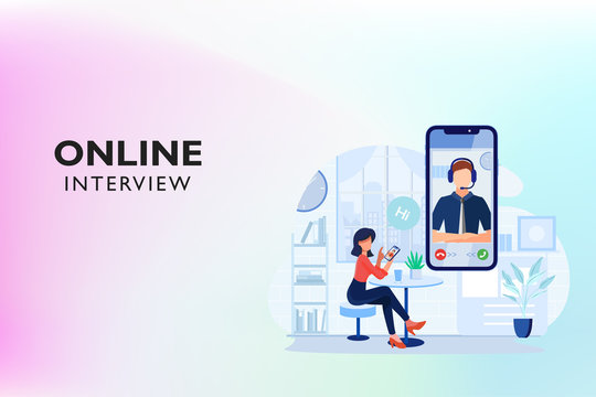 Online video call interview on Mobile Phone with A Team Support. Internet communication. Flat character interaction Vector Template. Office Background Vector. Horizontal View.