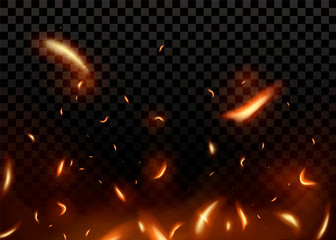 Close-up hot fiery sparkles and flame particles  Wall mural