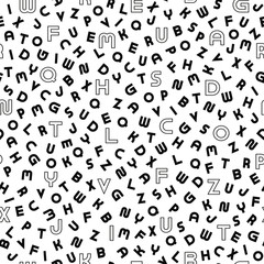 Vector seamless alphabet pattern with black bold latin letters. White repeatable unusual background