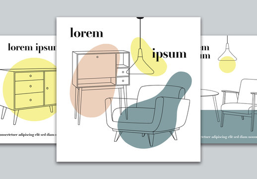 Social Media Layouts Set with Furniture Illustrations
