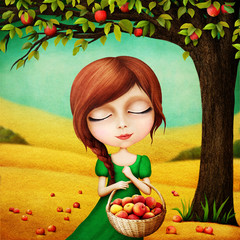 Illustration for a fairy tale about forty brothers and their blind sister, who helped them with apples.