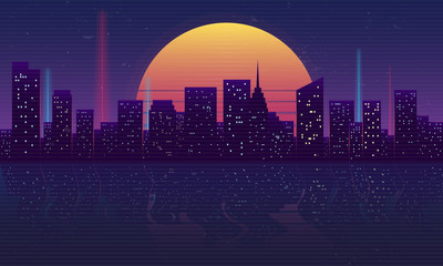 Retro futuristic night city concept. Cityscape isolated on a dark background with reflection in water, retro sun and vintage grunge textures. Vaporwave, Cyberpunk background. Vector illustration Fotomurales