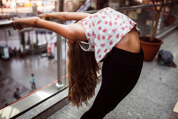 woman dancer arching her back