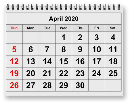 Monthly calendar - April 2020