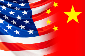 Flags of America and China. Two national flags in one picture. Cooperation of States. Cooperation between the US and PRC. The concept of the relationship between the economy and politics of countries.
