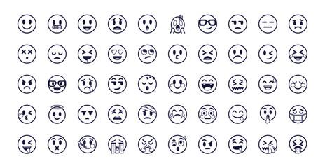 Emojis faces flat style icon set vector design