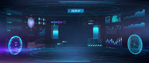 Cyberspace Virtual reality in HUD, GUI style. Futuristic VR design display. Head-up User Interface. Cyberpunk Sky-fi helmet or cockpit dashboard with speedometer, infographics and indicators. Vector Wall mural