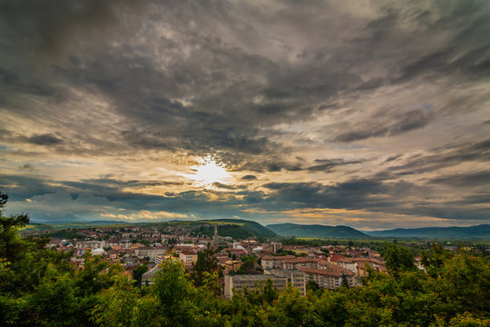 Dramatic Cloudy Sky Over Small Town In Romania - Dej