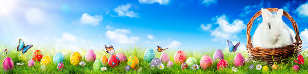 Easter Eggs And Adorable Bunny In Basket On Grass
