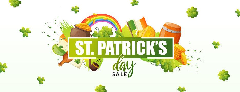 Lucky Irish green shamrock and greeting text.