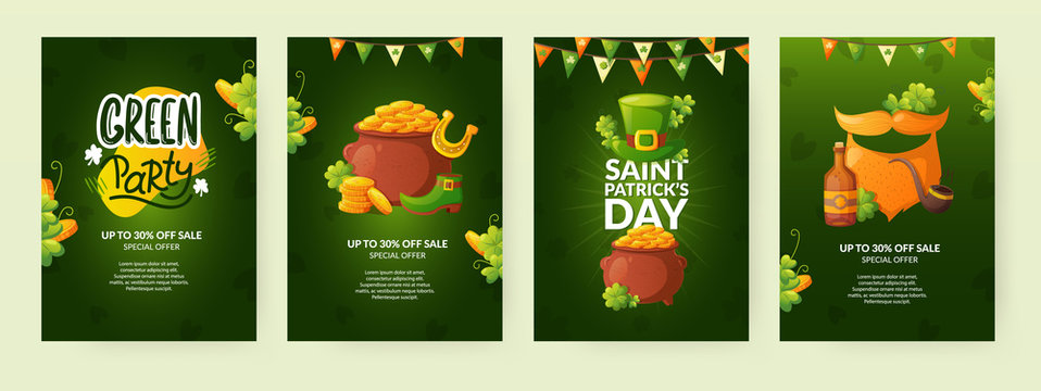 Set of poster designs for St. Patrick's Day.